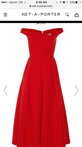 dress preen by thornton bregazzi finella pleated stretch crepe midi dress red dress