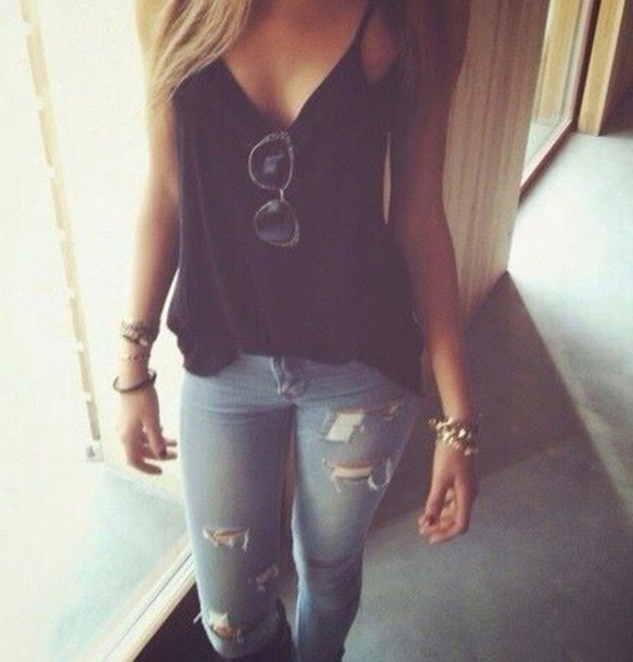 Shirt ripped jeans black tank top - Wheretoget