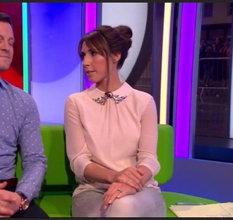 blouse pink studded collar sequins gem diamonds diamanté alex jones the one show bbc presenter uk england united kingdom