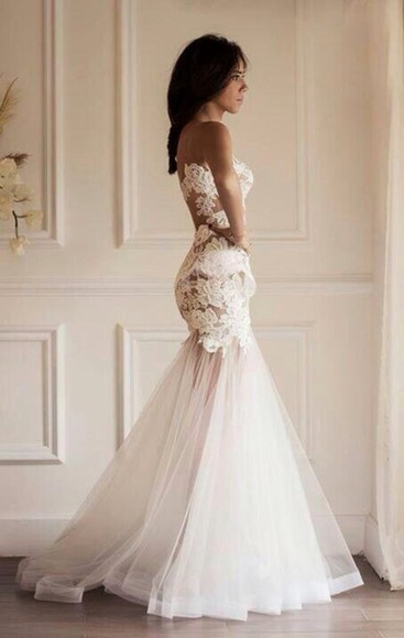 wedding dress lace dress mermaid wedding dresses dress lace white beautiful wedding clothes weddingdress see through gown wed see through dress gowns beautiful dress wedding dress lace