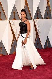 dress,kerry washington,celebrity style,celebrity,red carpet dress,black and white dress,leather dress,slit dress,maxi dress,long dress