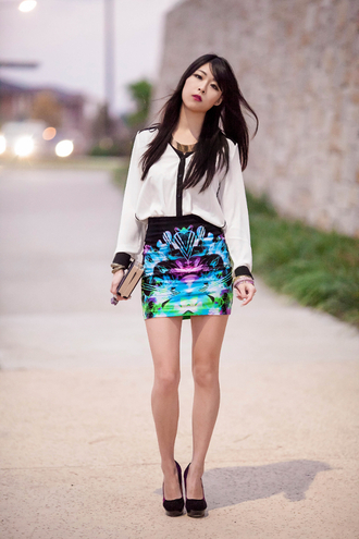 skirt jewels bag shoes blouse metallic paws