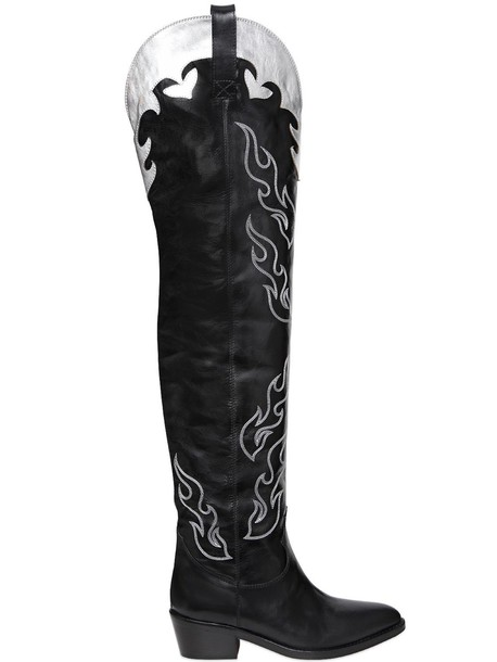 over the knee boots leather silver black shoes