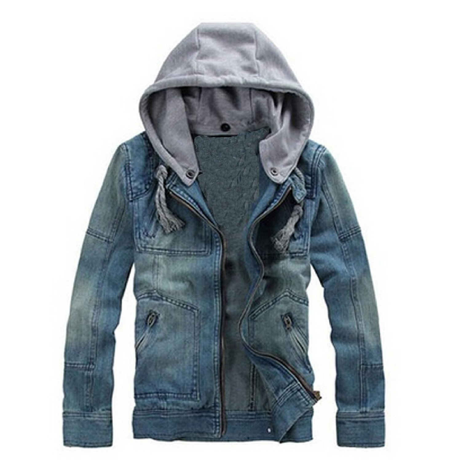 com: Fancy Dress Store Men's Super Star Cow Jeans Hooded Denim ...