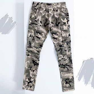jeans maniere de voir camouflage pewter grey ribbed cargo pants pockets