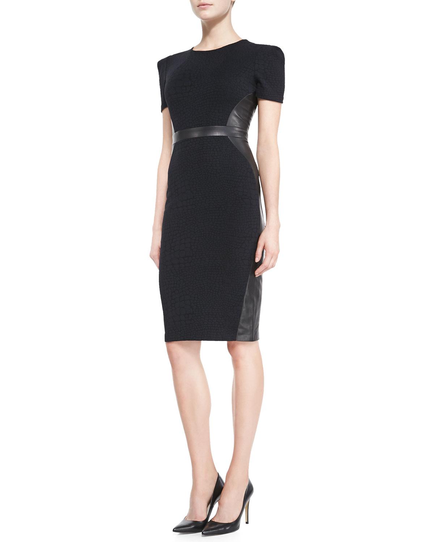 Short-Sleeve Structured-Shoulder Leather-Trim Dress