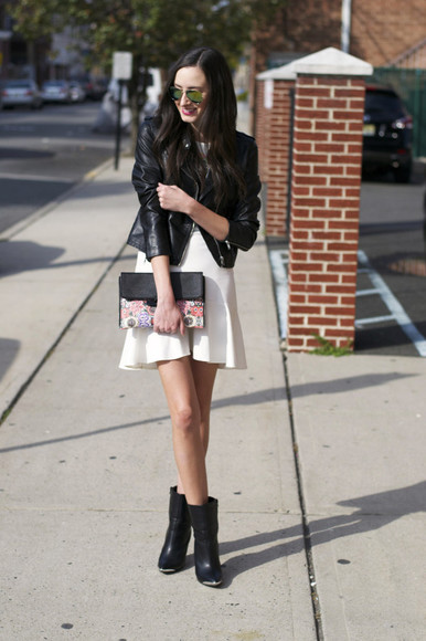 ruffle skirt blogger jacket leather jacket the glam files jewels make-up clutch
