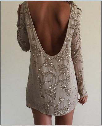 dress embellished clothes tan dress knee length dress mini dress long sleeve dress backless dress
