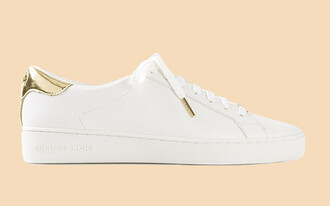shoes white white sneakers white shoes gold detail michael kors