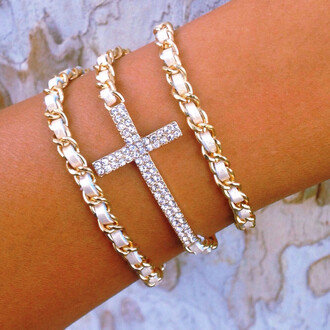 jewels wrap bracelets cross gold white cute studs sparkle layered