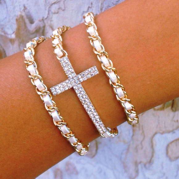 white cute jewels bracelets layered wrap cross gold studs sparkle