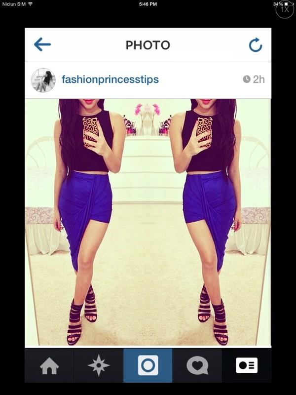 tank top top skirt blue black jacket blue skirt asymmetrical skirt shirt black crop top shoes