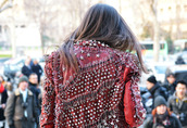 jacket,red,stars,spikes,balmain,leather jacket
