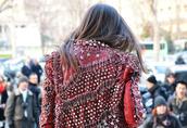 jacket,red,stars,spikes,balmain,leather jacket