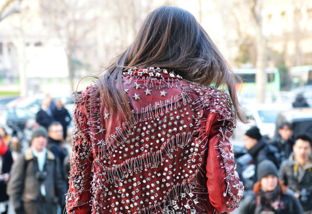 jacket red stars spikes balmain leather jacket