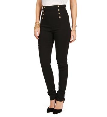 Black high waisted button pants