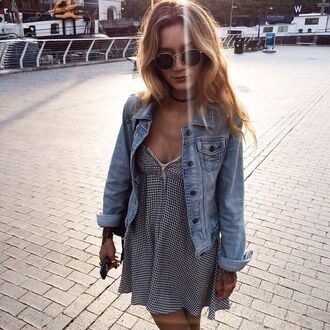 dress black and white black and white dress jean jackets denim jacket denim gingham gingham print strappy dress summer summer outfits summer dress summer outft jacket