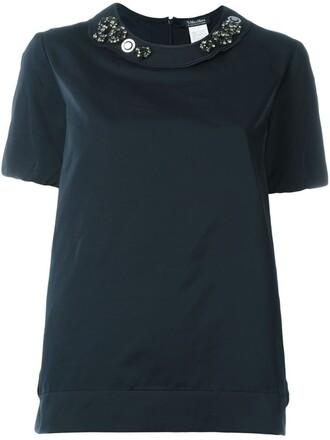 blouse embellished blue top