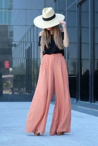 peach colorful wide-leg pants off the shoulder hat