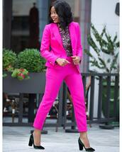 jacket,tumblr,pink blazer,blazer,pants,pink pants,power suit,two piece pantsuits,shoes,velvet,velvet shoes,office outfits