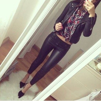 jeans black pointed toe plaid leather jacket leather pants jacket blouse red lime sunday