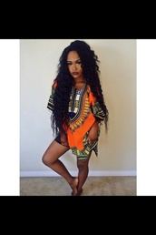 t-shirt,blouse,green,african print,dope,orange,cute,shirt,dress,orange dress,tribal pattern,tribal print dress,knee length dress,dashiki,black,african american,african dress,african dresses,african style,african designs,african pattern