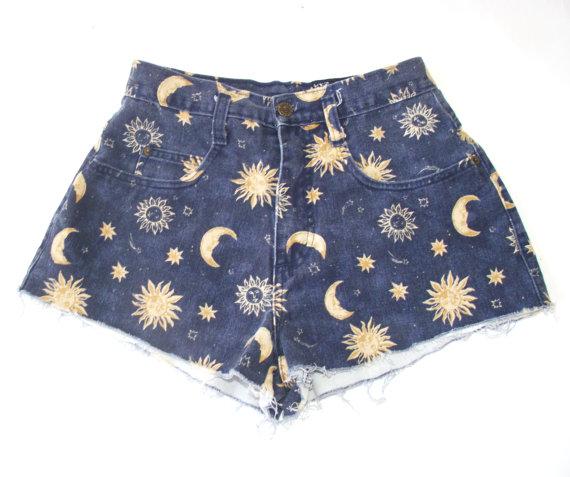 Vintage Sun and Moon High Waisted Denim Shorts by TheLizardQueens