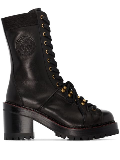Versace Black Tribute lace-up Ankle Boots - Farfetch