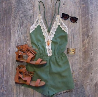 romper boho boho chic army green lace cute trendy stylish music festival festival festival must have summer outfits summer outfit idea cute outfits