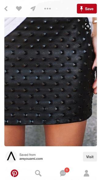 skirt black studded skirt studded black skirt leather skirt