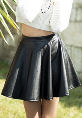 High waist black vegan leather skirt