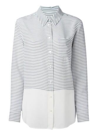 shirt striped shirt women white silk top