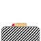 Striped leather clutch with lipstick