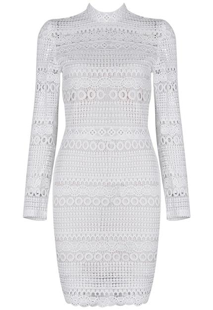 Long Sleeve Crochet Bandage Dress White