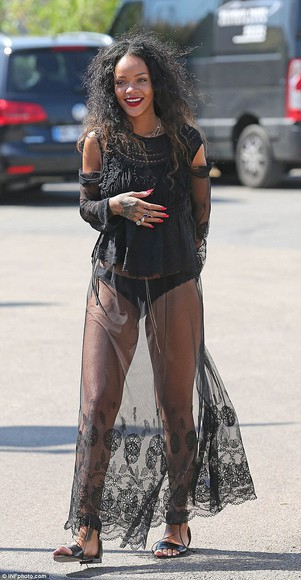 sheer festival witch style fabulous riri netting skirt celebrity rihanna black