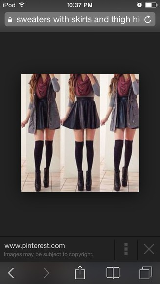 mini skirt sweater knee high socks scarf cardigan