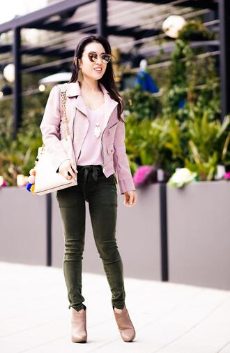 cute & little blogger shoes sunglasses jewels bag pink leather jacket ankle boots spring outfits