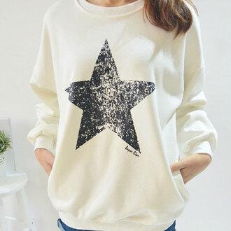 sweater sweatshirt white stars long sleeves