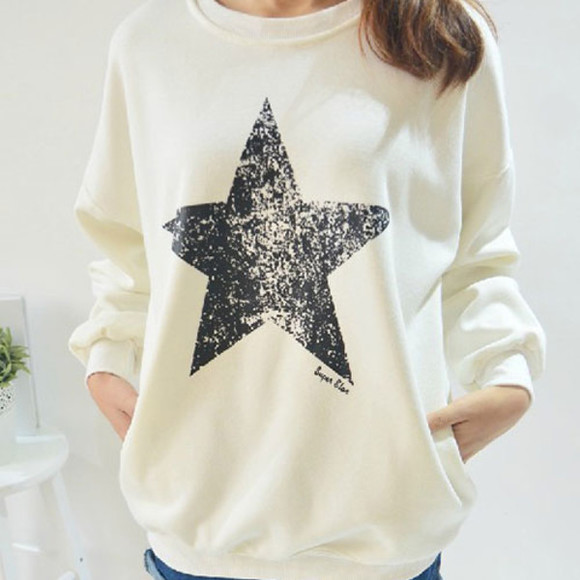 star white sweater sweatshirt long sleeve
