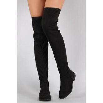 shoes black thigh high boots heeless