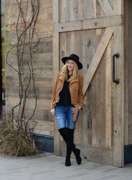 the stylish housewife blogger jacket shoes jeans top hat bag felt hat brown jacket over the knee boots black boots spring outfits