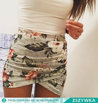 skirt clothes top girl flowers flowers skirt short skirt