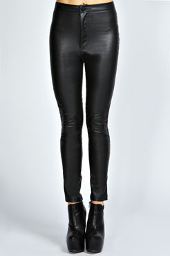 Una PU High Rise Disco Pants at boohoo.com