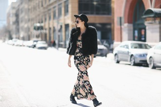 we wore what blogger fuzzy coat floral dress maxi dress dress coat