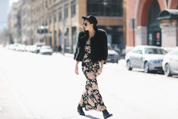 we wore what blogger fuzzy coat floral dress maxi dress dress coat floral maxi dress