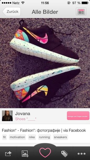shoes nike roshe run nike roshe run black mukticolor sneakers nike nike roshe run nike shoes