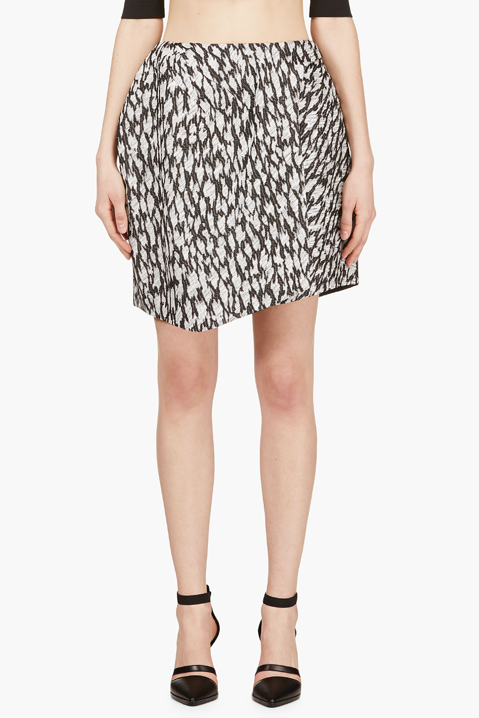 mugler black and white leopard jacquard skirt