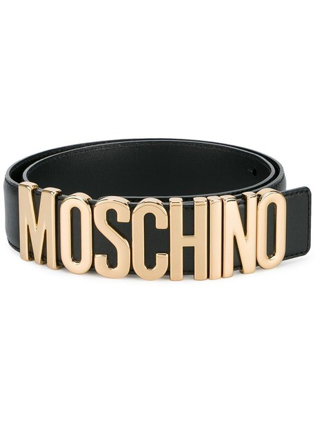 Moschino metal women 100 belt logo belt gold leather black