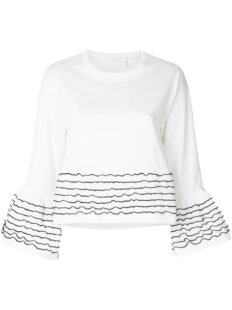 See by Chloe top cropped women white cotton
