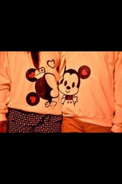 sweater,mickey mouse,mouse,minnie mouse,jumper,cute,couple,disney,coat